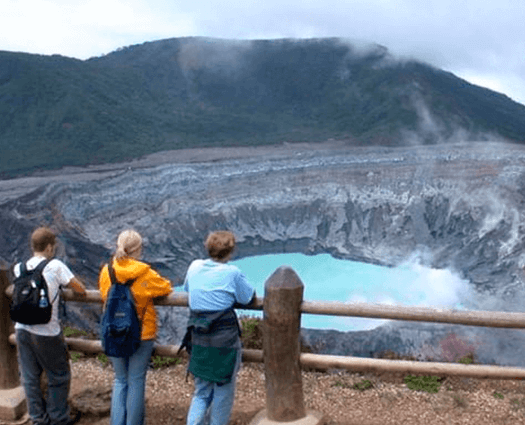 Picture of tourists gazing at the volcano.