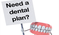 "Illustration of a set of teeth holding a sign ""Need a dental plan?"