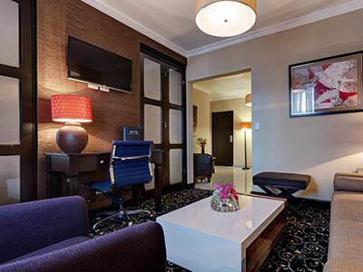 Picture of a junior suite living area.