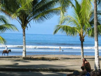 Picture of a beautiful Costa Rica beach with palm trees and gently breaking waves.