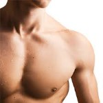 Picture of a male chest showing the results of a Gynecomastia procedure he had in Costa Rica.